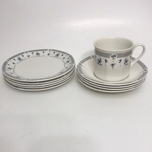 Royal Doulton Calico Blue, cup, saucers and plates